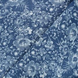 Tissu jeans fluide élasthanne Anémone - bleu x 10cm