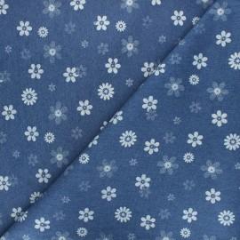 Tissu jeans fluide élasthanne Flowers - bleu x 10cm