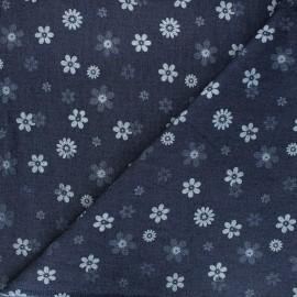 Patterned elastane jeans fabric - dark blue Flowers x 10cm