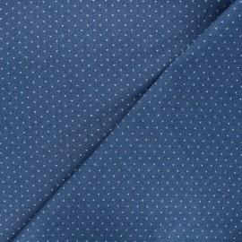 Patterned elastane jeans fabric - blue Dotty x 10cm