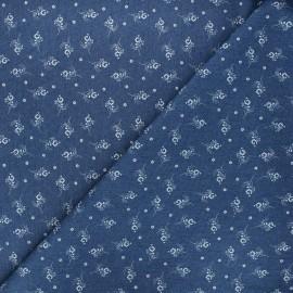 Patterned elastane jeans fabric - blue Sylvia x 10cm