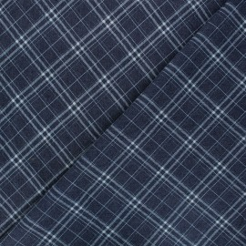 Patterned elastane jeans fabric - dark blue Gaston x 10cm