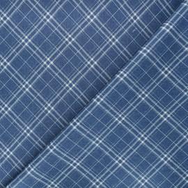 Patterned elastane jeans fabric - blue Gaston x 10cm