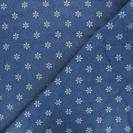 Patterned elastane jeans fabric - blue Snowflake x 10cm