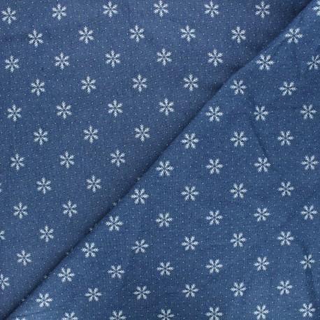 Tissu jeans fluide élasthanne Snowflake - bleu x 10cm