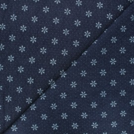 Patterned elastane jeans fabric - dark blue Snowflake x 10cm
