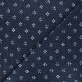 Tissu jeans fluide élasthanne Snowflake - bleu foncé x 10cm