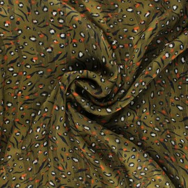 Tissu mousseline lurex Amelina - kaki x 50cm