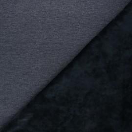 Tissu sweat envers velours uni - bleu nuit/gris x 10cm