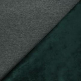 Tissu sweat envers velours uni - vert sapin/gris x 10cm