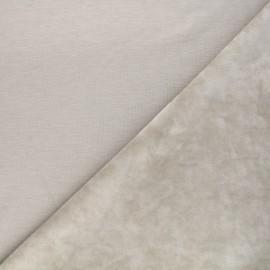 Tissu sweat envers velours uni - grège x 10cm