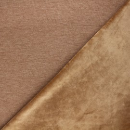 Tissu sweat envers velours uni - camel x 10cm