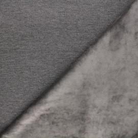 Tissu sweat envers velours uni - gris x 10cm