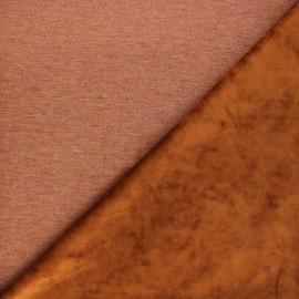 Tissu sweat envers velours uni - marron x 10cm