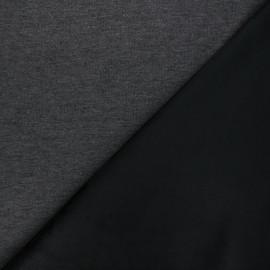 Tissu sweat envers velours uni - noir/gris x 10cm