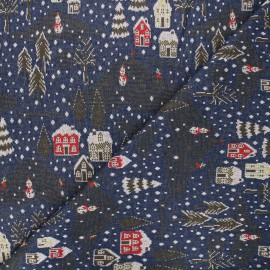 Jacquard knitted fabric - midnight blue Snowy day x 10 cm
