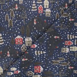 Tissu maille jacquard Snowy day - bleu nuit x 10 cm