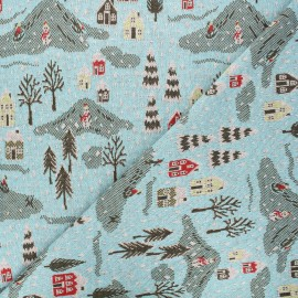 Jacquard knitted fabric - sky blue Snowy day x 10 cm