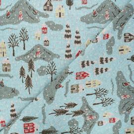 Tissu maille jacquard Snowy day - bleu ciel x 10 cm