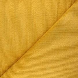 Washed ribbed velvet fabric - mustard yellow Cardiff x 10cm