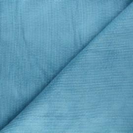 Washed ribbed velvet fabric - light blue Cardiff x 10cm