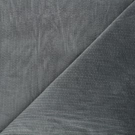 Tissu velours côtelé washé Cardiff - gris souris x 10cm