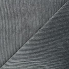 Washed ribbed velvet fabric - mouse grey Cardiff x 10cm