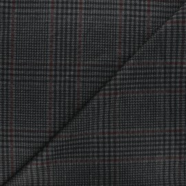 Checked milano jersey fabric - grey Casey x 10cm