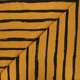 Tissu jersey Poppy Stripe - jaune curry x 10cm