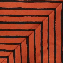 Poppy jersey fabric - brick red Stripe x 10cm