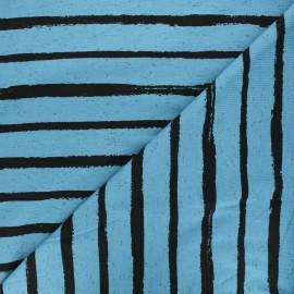 Tissu jersey Poppy Stripe - bleu x 10cm