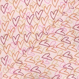 Poppy jersey fabric - light pink Hearts x 10cm