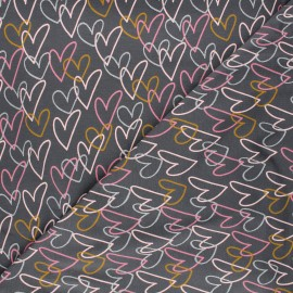 Poppy jersey fabric - mouse grey Hearts x 10cm