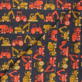 Tissu jersey Poppy Vehicles - gris foncé chiné x 10cm