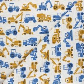 Tissu jersey Poppy Vehicles - écru chiné x 10cm