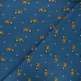 Poppy jersey fabric - navy blue Farm x 10cm