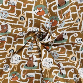 Tissu popeline de coton Poppy Living underground - camel x 10cm