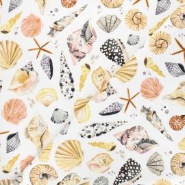 Poppy canvas cotton fabric - white Vitamin sea x 10cm