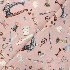 Poppy canvas cotton fabric - old pink Vintage sewing kit x 10cm