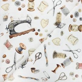 Tissu toile de coton Poppy Vintage sewing kit - écru x 10cm