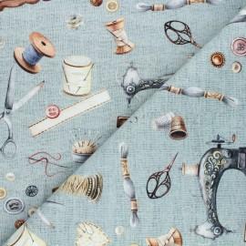 Poppy canvas cotton fabric - blue Vintage sewing kit x 10cm