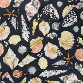 Poppy canvas cotton fabric - black Vitamin sea x 10cm