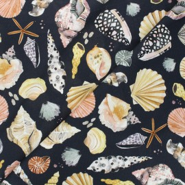 Tissu toile de coton Poppy Vitamin sea - noir x 10cm