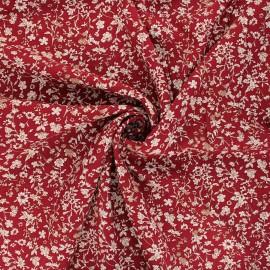 Viscose fabric - brick red Fleurs des bois x 10cm