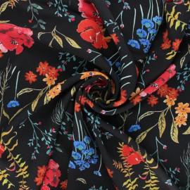Viscose fabric - black Flowermania x 10cm