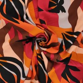 Viscose fabric - orange Sunset flowers x 10cm