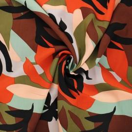 Viscose fabric - brown Sunset flowers x 10cm
