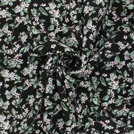 Viscose fabric - black Blooming flowers x 10cm