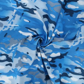 Poplin cotton fabric - blue Daget x 10cm