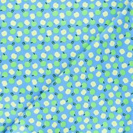 Tissu coton Feelin' fruity apples - bleu x 10 cm